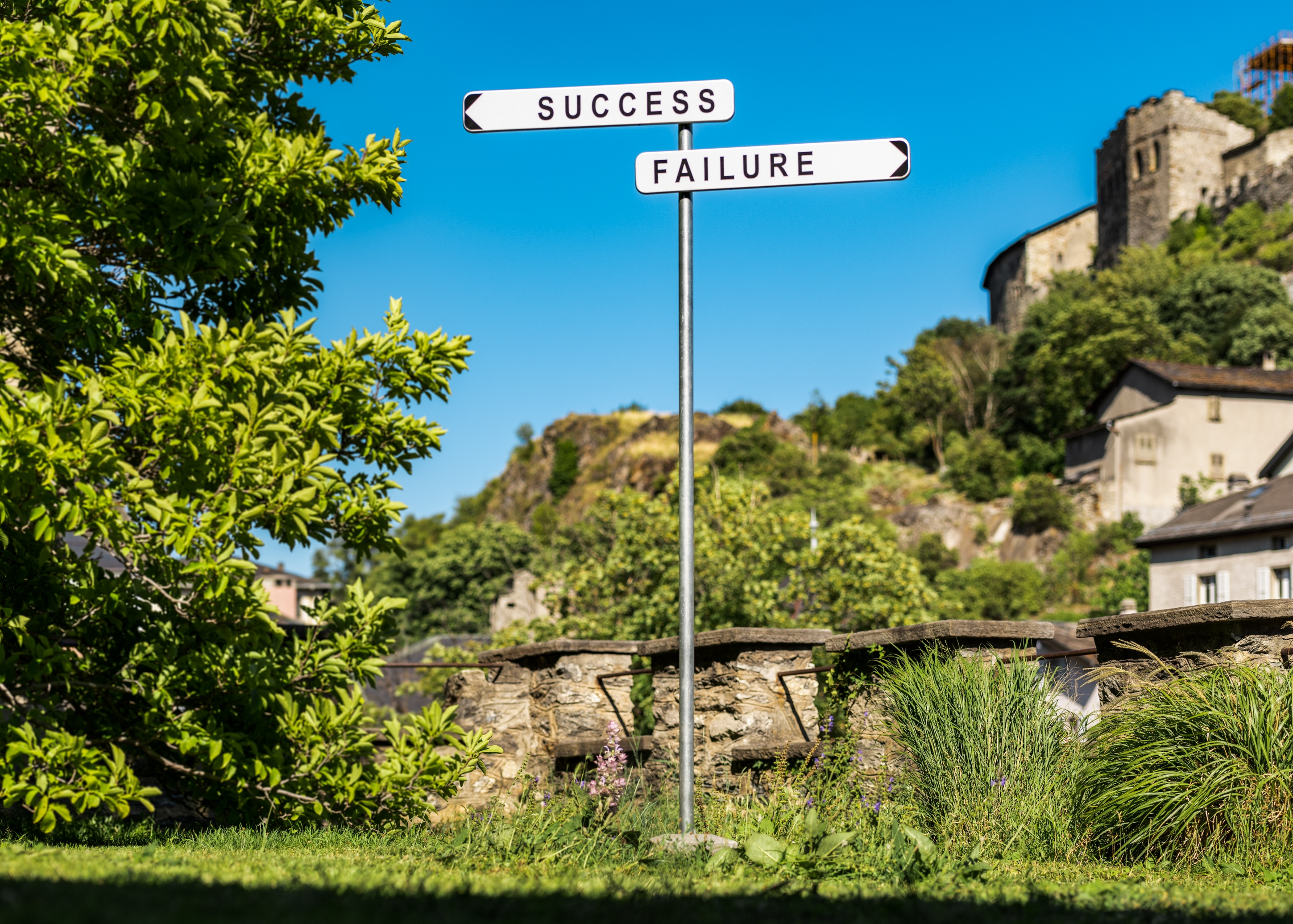 Gianni Motti, Success/Failure, 2014, plaques en aluminium imprimé, tube galvanisé, 220 x 132 x 6 cm.